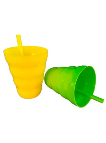 """Стакан пластиковый с трубочкой 0,3 л тм """"ПА"""""""