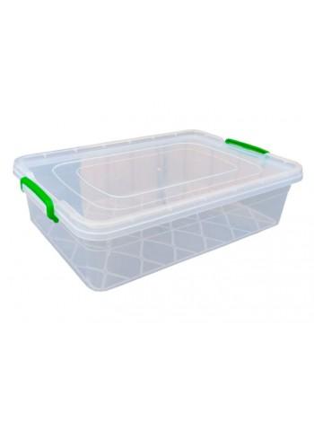 """Пищевой контейнер пластиковый с защелками ( судок ) 13 л плоский  тм """"Г"""""""