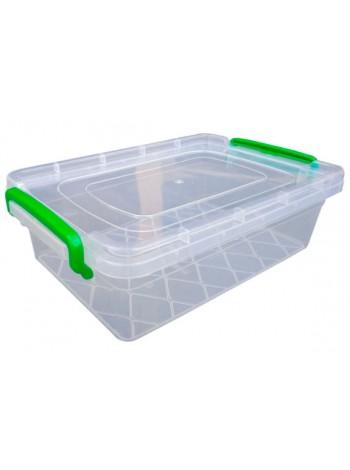 """Пищевой контейнер пластиковый с защелками ( судок ) 3,5 л плоский  тм """"Г"""""""