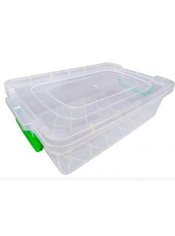 """Пищевой контейнер пластиковый с защелками ( судок ) 6 л плоский  тм """"Г"""""""