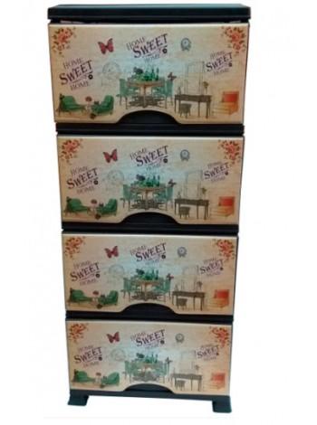 """Комод пластиковый с рисунком """"Дом, милый дом"""" на 4 ящика тм """"KV"""""""