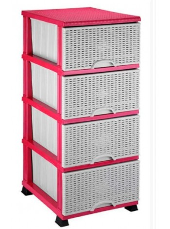 "Комод пластиковый плетенка розовый на 4 ящика тм ""Е"""