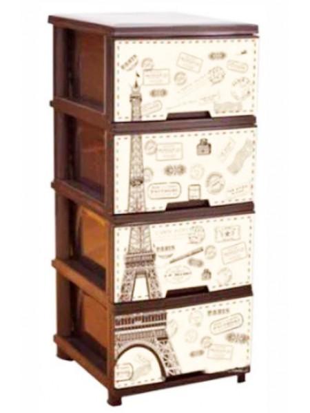 """Комод пластиковый коричневый с рисунком """"Париж"""" на 4 ящика тм """"А"""""""