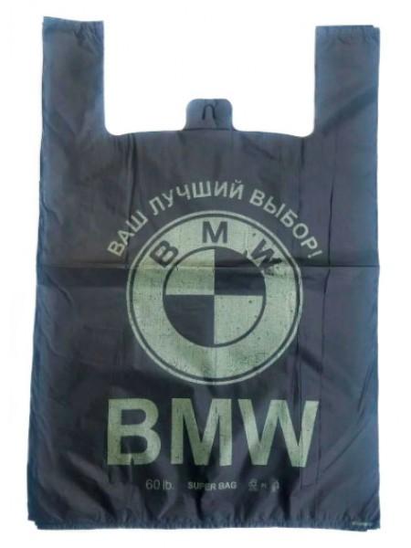 """Пакет майка с рисунком BMW черный 50 шт тм """"V"""""""