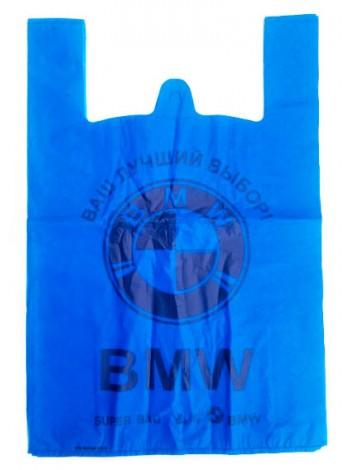 """Пакет майка с рисунком BMW синий 50 шт тм """"V"""""""