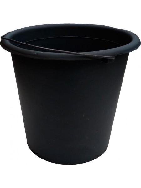 """Ведро хозяйственное полиэтилен черное с металлической ручкой 10л тм """"ХП"""""""