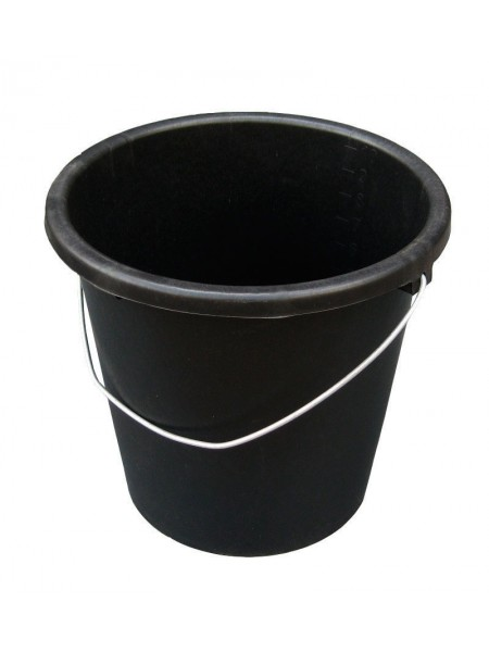 """Ведро хозяйственное черное полиэтилен с металлической ручкой 10л тм """"ПА"""""""