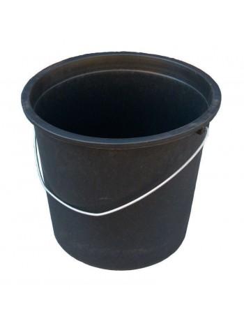 """Ведро хозяйственное черное полиэтиленовое, с металлической ручкой 17л тм """"ПА"""""""