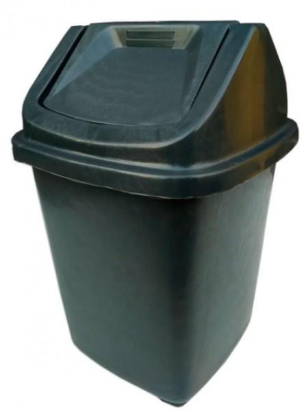 """Ведро для мусора пластиковое черное с поворотной крышкой 11 л тм """"Х"""""""