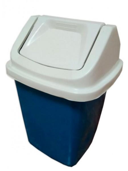 """Ведро для мусора пластиковое синее с белой поворотной крышкой 11 л тм """"Х"""""""