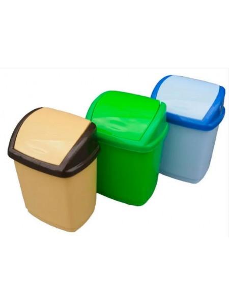 """Ведро для мусора пластиковое с поворотной крышкой 1,7 л тм """"Г"""""""
