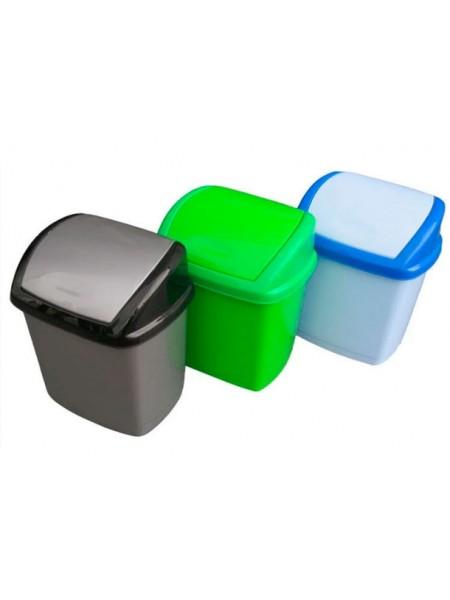 """Ведро для мусора пластиковое с поворотной крышкой 5 л тм """"Г"""""""