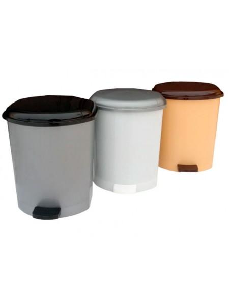 """Ведро для мусора пластиковое с педалью 15 л тм """"Г"""""""