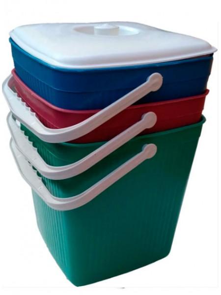 """Ведро для мусора пластиковое цветное ребристое с крышкой 12 л тм """"Х"""""""