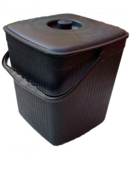 """Ведро для мусора пластиковое черное ребристое с крышкой 12 л тм """"Х"""""""