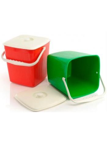 """Ведро для мусора пластиковое цветное ребристое с крышкой 12 л тм """"Ю"""""""