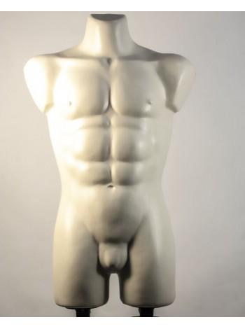 Манекен мужской костюмный пластиковый Давид белый матовый с креплениями для двойной подставки