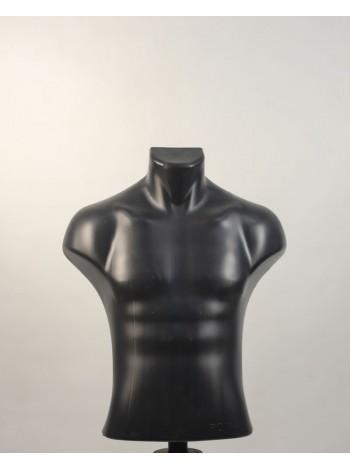Манекен мужской пластиковый черный Рома с креплением для треноги