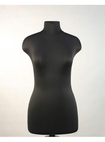 Манекен выставочный пластиковый Марина 44 в ткани черного цвета с креплением для треноги