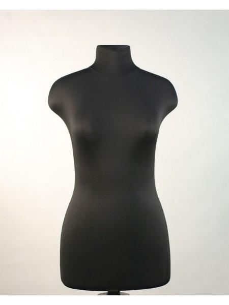 Манекен выставочный пластиковый Марина 44 в ткани черного цвета