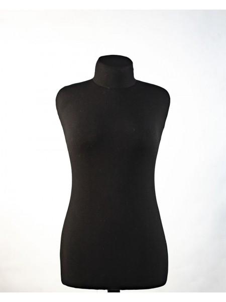 Манекен портной в черной ткани с мягкой подкладкой Любовь 44 на деревянной треноге