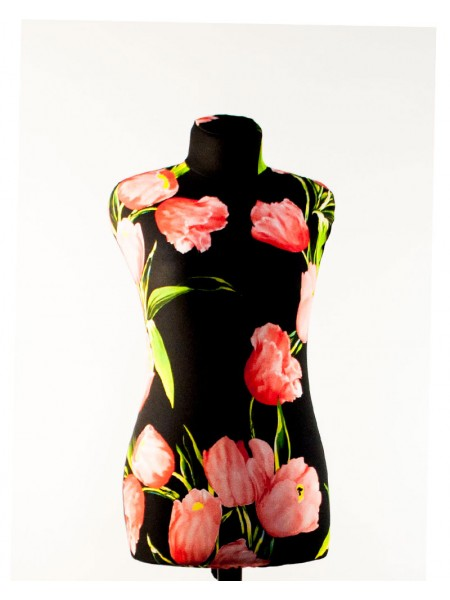 Манекен Любовь 42  дизайнерский в весеннем чехле с  тюльпанами на  деревянной треноге