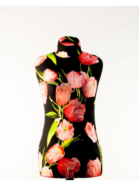 Манекен Любовь 44 дизайнерский в весеннем чехле с тюльпанами на хромированной треноге