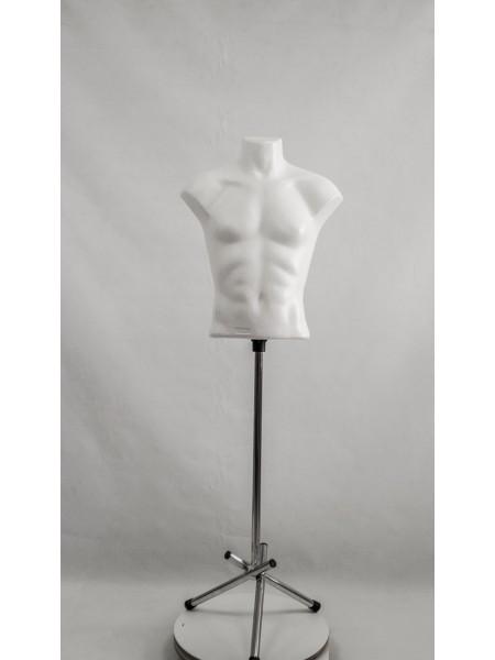 Манекен мужской пластиковый белый Стас на треноге