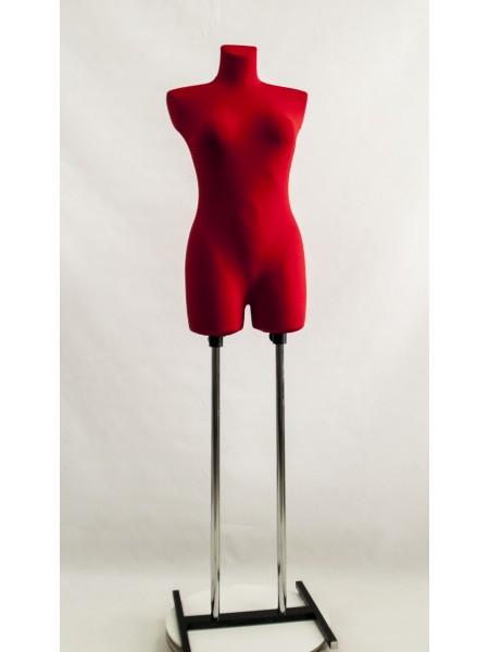 Манекен женский выставочный брючный Венера в ткани красный