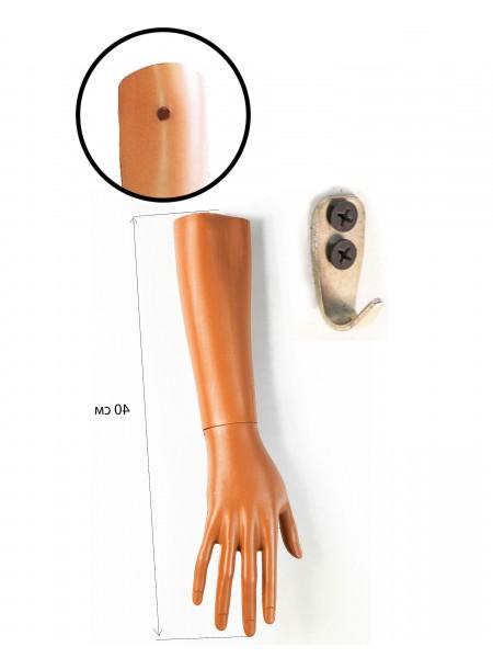 Манекен рука правая женская до локтя телесная  с креплением на стену