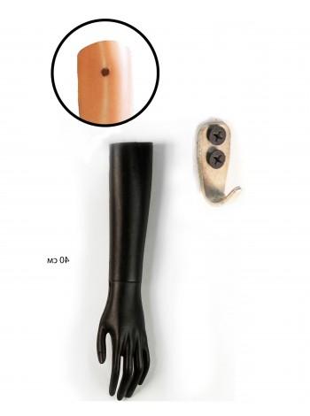 Манекен рука левая женская до локтя черная  с креплением на стену