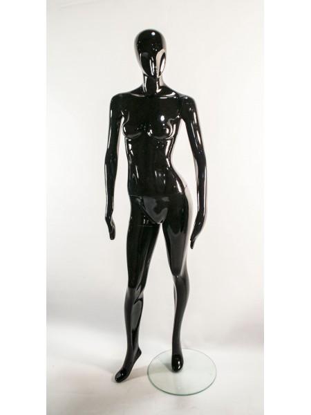 Манекен женский черный глянцевый с абстрактным лицом  J-10 black