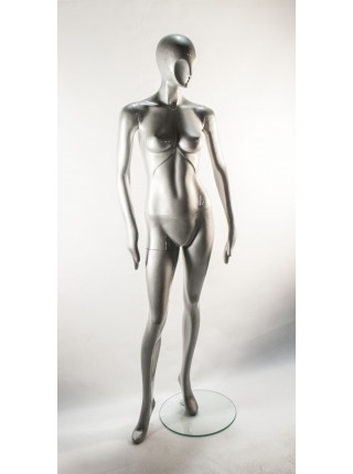 Манекен женский серебристыйглянцевый безликий J10 c2-2