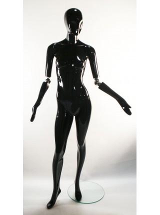 Манекен женский гипсовый глянцевый черный с поворотными руками J-10-steel ball black
