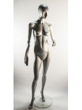 Женский серебристый манекен с абстрактным лицом и шарнирными руками J-10 steel ball