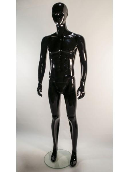 Манекен мужской черный глянцевый с абстрактным лицом K38-5