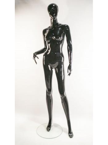 Манекен женский черный лакированый во весь рост с согнутой рукой Q-061-4