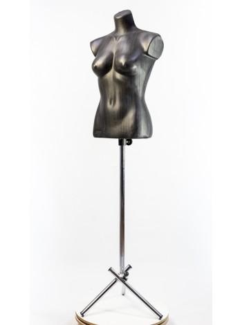 Манекен женский черный пластмассовый Маша на металлической треноге