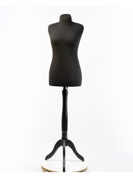 Манекен портновский черный мягкий модель Любовь 42 на деревянной треноге