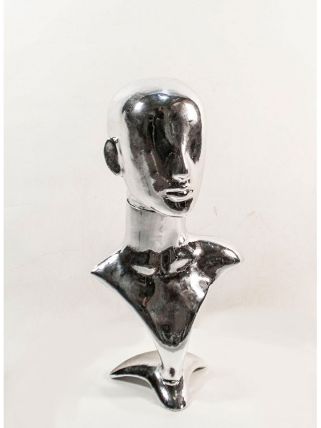 Манекен бюст с головой Аватар металлизированный (платина)