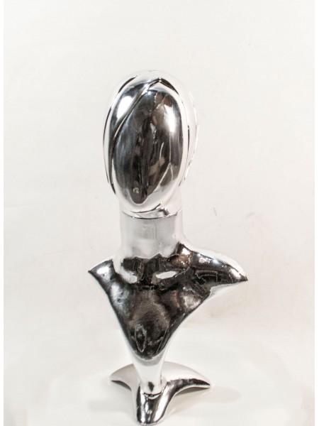 Манекен бюст с головой Аватар-2 металлизированный (платина)