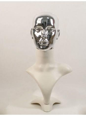 Манекен бюст белый с зеркальной головой ВГ  (платина)
