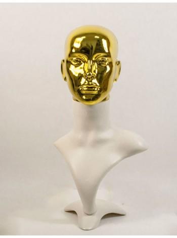 Манекен бюст белый с блестящей головой ВГ  (золото)
