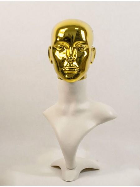 Манекен бюст белый с металлизированной головой ВГ  (платина)