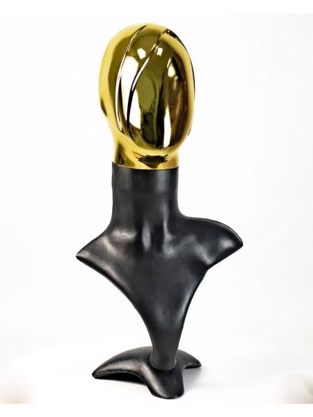 Манекен бюст черный с металлизированной головой Аватар-2  (золото)