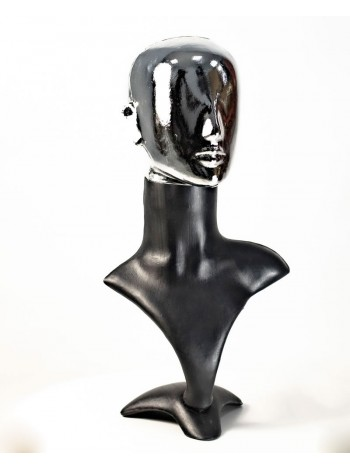 Манекен бюст черный с хромированной головой Аватар  (платина)