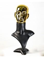 Манекен бюст черный с металлизированной головой ВГ  (золото)