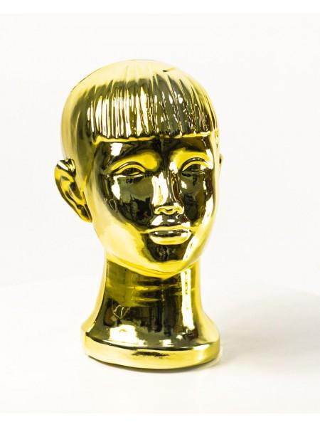 Манекен детской головы металлизированный (золото)