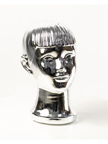 Манекен детской головы металлизированный (платина)