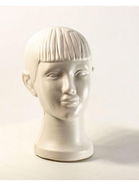 Голова детская мальчик белая матовая